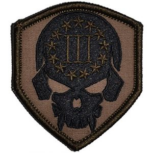 Tactical Gear Junkie Airsoft Morale Patch 1 3 Percenter Skull - 2.5x3 Shield Patch (Coyote Brown)