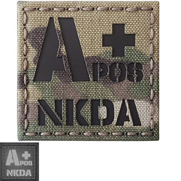 Tactical Freaky Airsoft Morale Patch 3 Multicam Infrared IR APOS NKDA A+ Blood Type 2x2 Tactical Morale Hook&Loop Patch