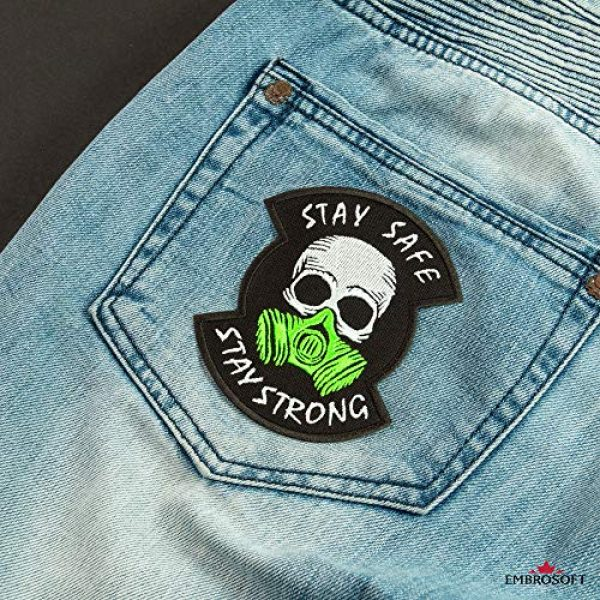 """Embrosoft Airsoft Morale Patch 4 Skull in a Gas mask Patch, Embroidered""""Stay Safe, Stay Strong"""" Morale Emblem, Size: 4.1 x 3.4 inches"""
