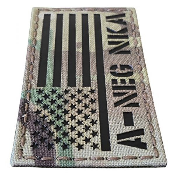 Tactical Freaky Airsoft Morale Patch 4 IR Multicam USA Flag ANEG A- Blood Type NKA NKDA Infrared Tactical Morale Fastener Patch