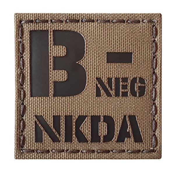 Tactical Freaky Airsoft Morale Patch 4 Coyote Brown Tan Infrared IR BNEG NKDA B- Blood Type 2x2 Tactical Morale Touch Fastener Patch