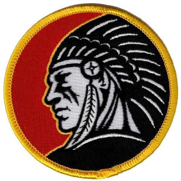 Cypress Collectibles Embroidered Patches Airsoft Morale Patch 1 Indian Headdress Round Iron-On Patch Embroidered Red Motorcycle Biker Emblem