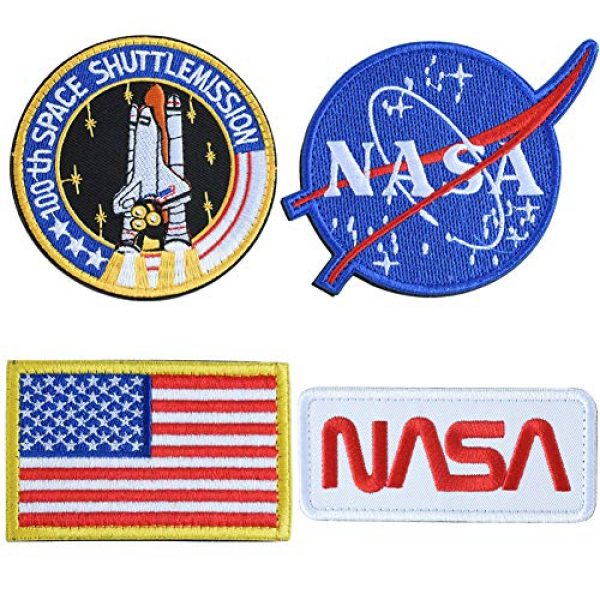 TONIFUL Airsoft Morale Patch 1 NASA Tactical Flag Embroidered Patch, US Flag Patch Combination, USA NASA Fabric Patch Morale Lot Military Patches (4 Pcs)