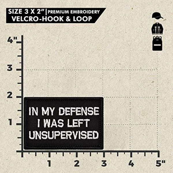 Ebateck Airsoft Morale Patch 2 Ebateck in My Defense I was Left Unsupervised Patch Small & American Us Flag, 4 Pack, Embroidered Morale Tactical Patches Funny for Hat Backpack Jackets Hook & Loop Emblem, Black Color