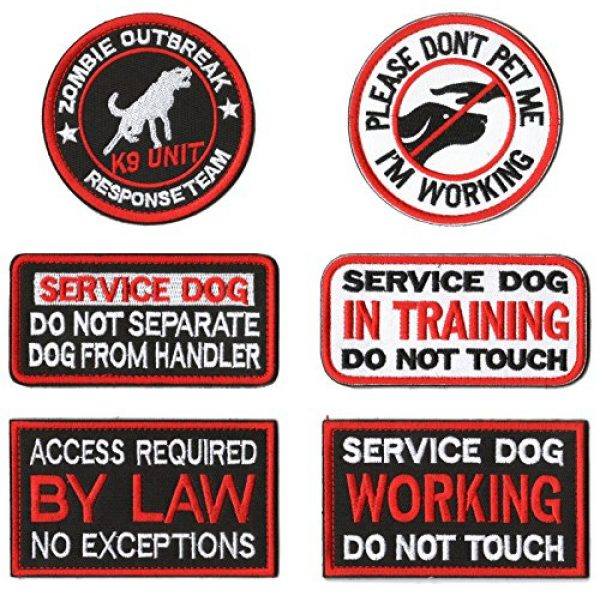 WZT Airsoft Morale Patch 1 WZT 6 Pieces Service Dog Working Do Not Touch Military Tactical Morale Badge Hook & Loop Fastener Patch
