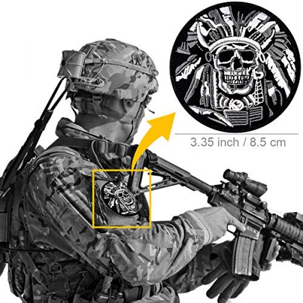 JumpyFire Airsoft Morale Patch 6 JumpyFire Tactical Skull Velcro Patch, 2 PCS Embroidered Military Morale Patches for Backpack Hat Jacket Jeans Uniform