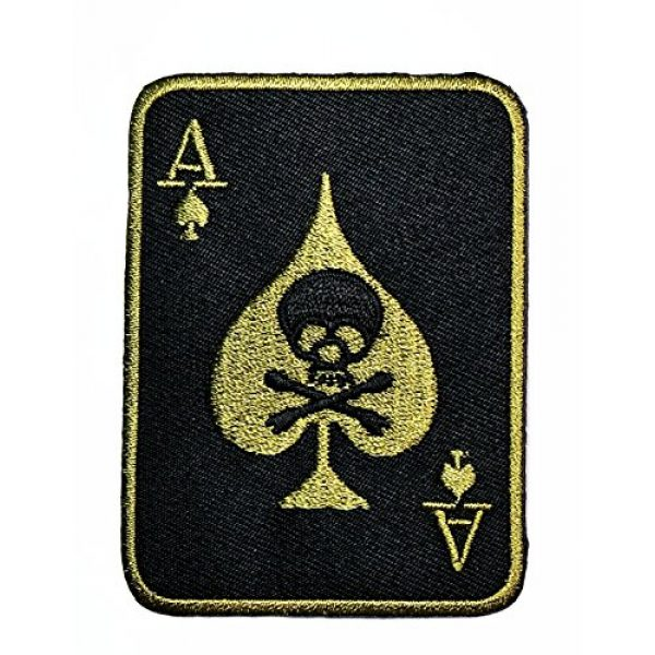 HHO CARTOON PATCH Airsoft Morale Patch 1 HHO Skull ACE OF SPADES DEATH SKULL CARD Patch Green Patch Embroidered DIY Patches, Cute Applique Sew Iron on Kids Craft Patch for Bags Jackets Jeans Clothes