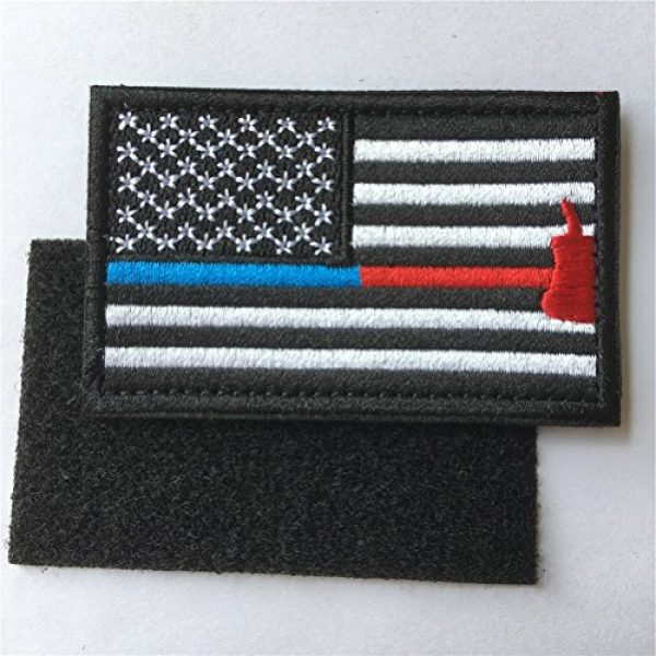 Hng Kiang Hu Airsoft Morale Patch 5 Bundle 2 Pieces Police Firefighter Axe USA Flag Thin Blue and Red Line Fully Embroidered Morale Tags Patch (Blue and Red Line)