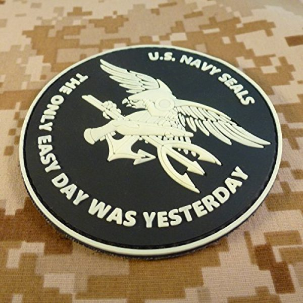 LEGEEON Airsoft Morale Patch 4 LEGEEON Glow Dark US Navy Seals The Only Easy Day was Yesterday DEVGRU Morale PVC Fastener Patch