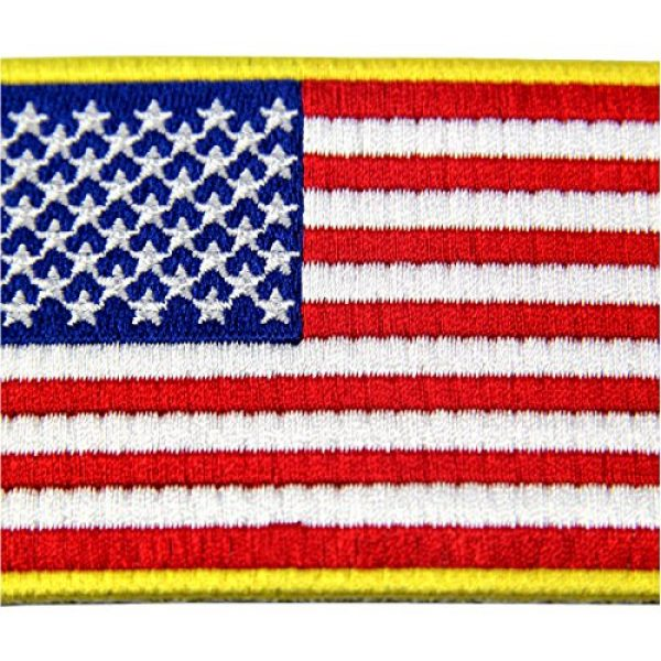 EmbTao Airsoft Morale Patch 2 EmbTao American Flag Embroidered Patch Gold Border USA United States of America Military Uniform Iron On Sew On Emblem