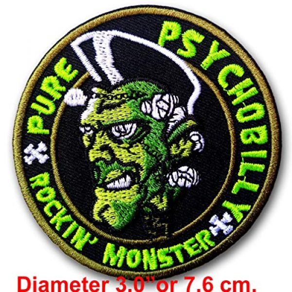 Verani Shop Airsoft Morale Patch 2 Verani Psychobilly Rockabilly Rocking Monster Greasers Pomade Back Harley Biker Punk Heavy Metal Hard Rock Tatto Embroidered Iron on Badge Emblem Letter Morale Patch
