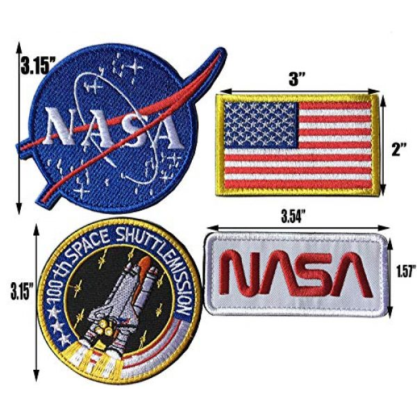 Xunqian Airsoft Morale Patch 2 Bundle 6 Pcs Tactical Flag Patch - Space Fans USA NASA Patch Embroidered Lot Military Embroidered Patches (A-Hook and Loop Fasteners Backing)