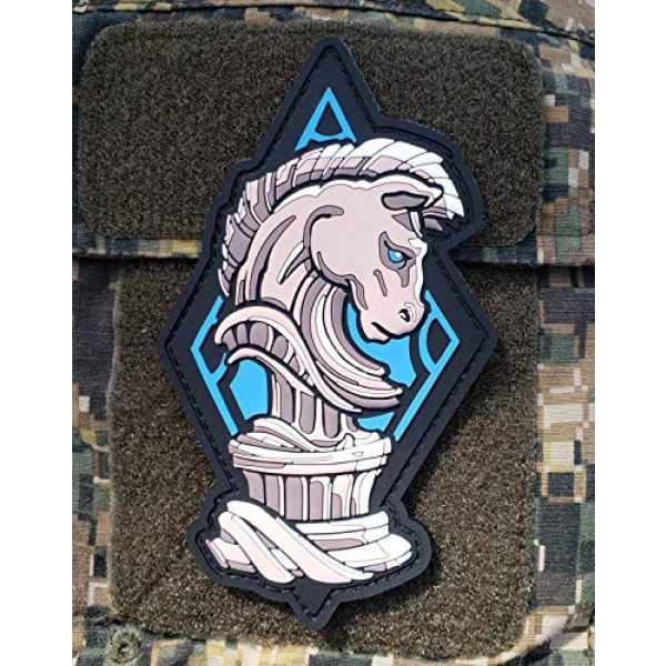"""Generic Airsoft Morale Patch 4 PVC Chess Knight Morale Tactical Patch with Hook and Loop Backing, 5"""" tall"""