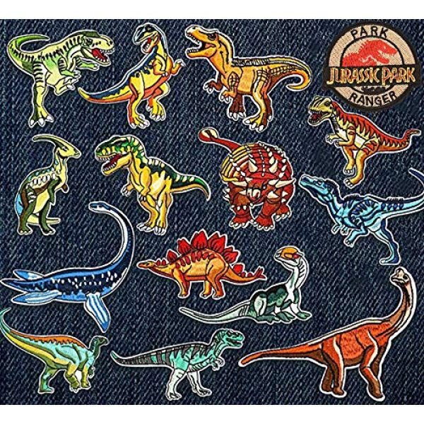 Jacknb Airsoft Morale Patch 3 Dinosaur Iron on Patches Jurassic Park Tactical Embroidered Applique Patches Badge Morale Decoration Sew on Patches for Jacket Jeans Backpacks Hat Clothing (15 Pcs)