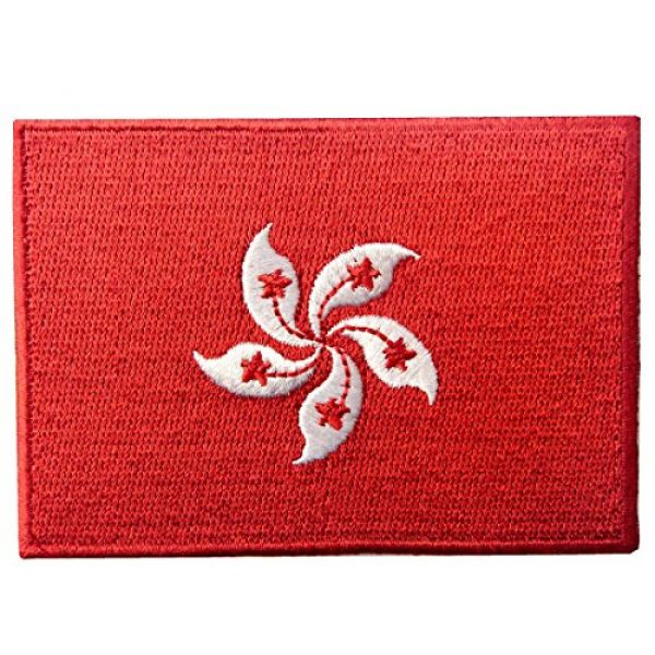 EmbTao Airsoft Morale Patch 1 Hong Kong Flag Embroidered Emblem Pearl of The Orient Iron On Sew On National Patch