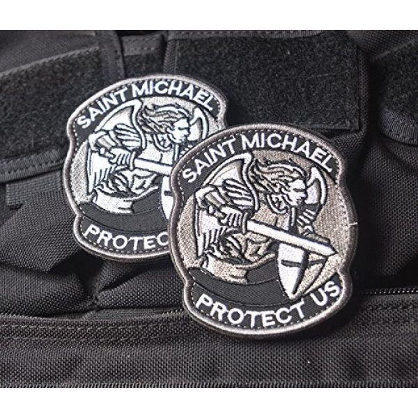 Zhikang68 Airsoft Morale Patch 3 Saint Michael Modern Morale Patch Tactical Military Army Embroidered Sew on Tags Operator Patches with Hook and Loop Fasteners Backing-Multitan