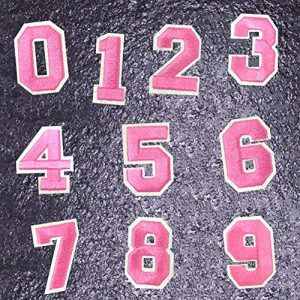 Jacknb Airsoft Morale Patch 1 Iron On Numbers Patches Sew On Applique Patches Pink 0-9 Number Patches Ironed Embroidered Decorative Repair Patches for Clothes Backpack Clothing Shoe Shirt Hat