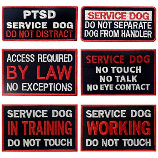 TailWag Planet Airsoft Morale Patch 1 Service Dog in Training Working No Touch PTSD Do Not Distract Vest/Harnesses Tactical Morale Patch Embroidered Badge Fastener Hook & Loop Emblem, 6 Pcs