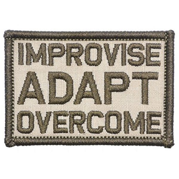 Tactical Gear Junkie Airsoft Morale Patch 1 Improvise Adapt Overcome - 2x3 Patch - Desert Sand