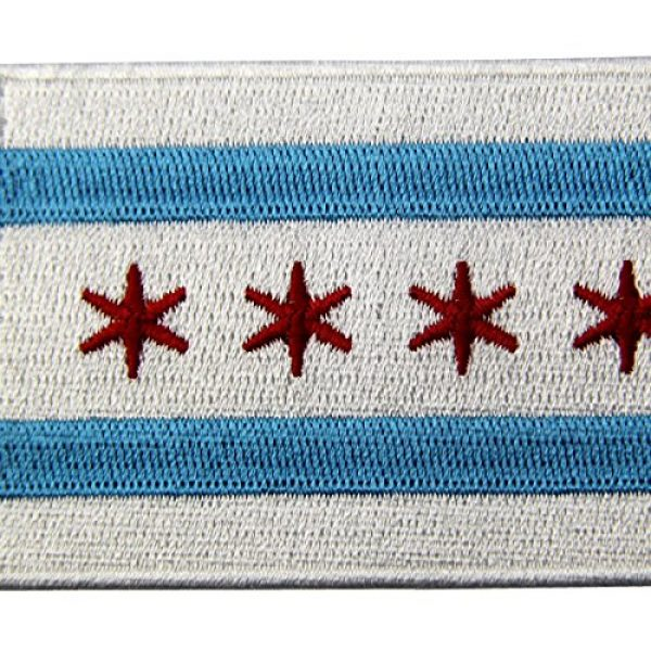 EmbTao Airsoft Morale Patch 2 Chicago City Flag Embroidered Iron On Sew On Illinois Patch
