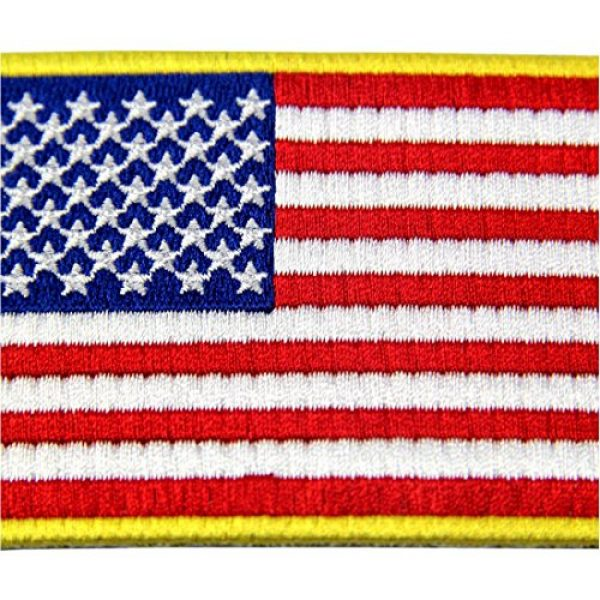 EmbTao Airsoft Morale Patch 2 American Flag Patches Embroidered Gold Border USA United States of America Military Uniform Fastener Hook & Loop Emblem