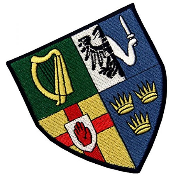 EmbTao Airsoft Morale Patch 3 Ireland Provinces Shield Emblem Irish Coat of Arms Flag Embroidered Iron On Sew On Patch