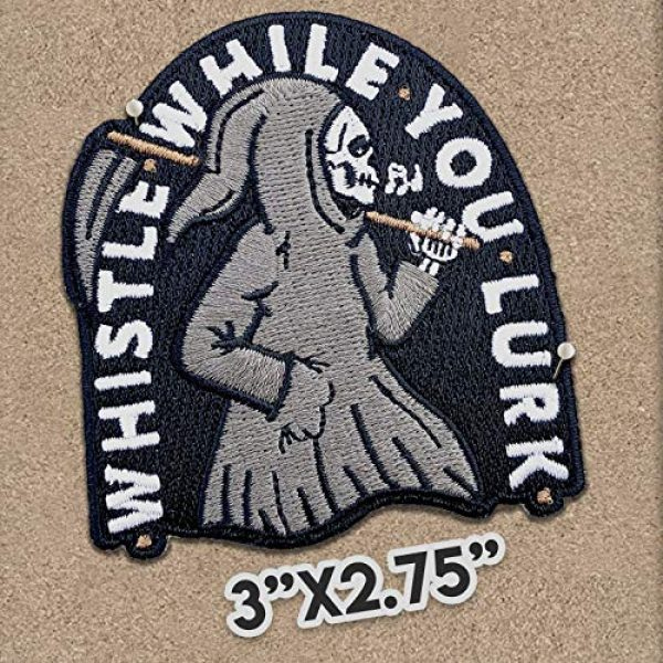Wasted Days Airsoft Morale Patch 2 Wasted Days Whistle While You Lurk Embroidered Patch for Jackets, Iron On or Sew On Novelty Grim Reaper Skeleton