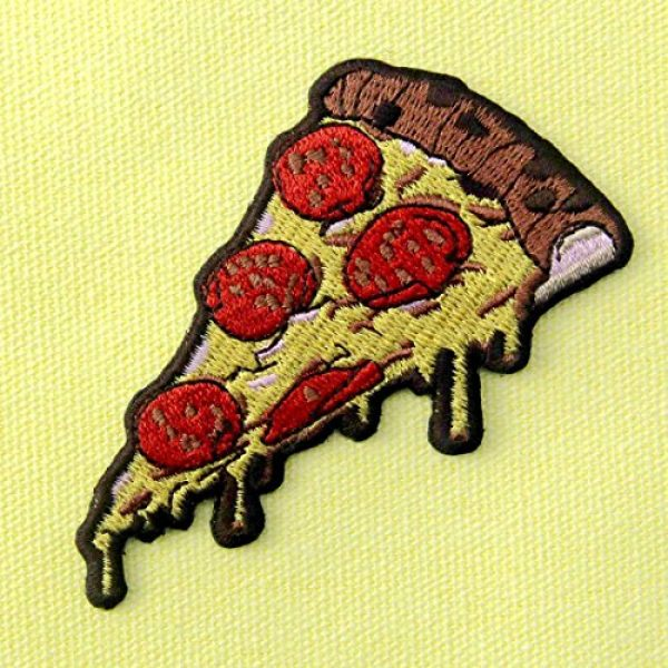 ZEGIN Airsoft Morale Patch 3 Pepperoni Pizza Slice Italian Fast Food Retro Embroidered Applique Iron On Sew On Patch