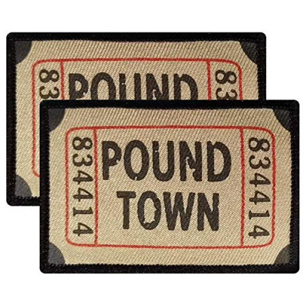 Ebateck Airsoft Morale Patch 1 Ebateck Pound Town Ticket Morale Patches, 2 Pack, Embroidered Tactical Funny Applique Iron On Sew On Emblem