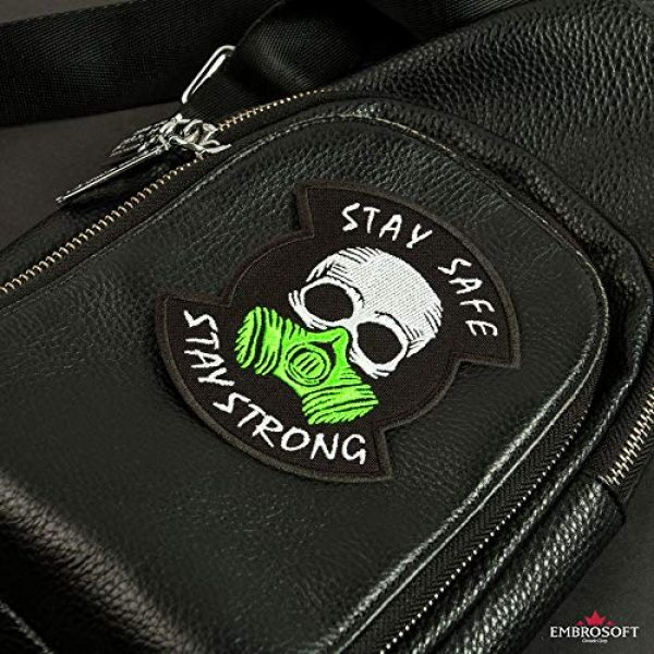 """Embrosoft Airsoft Morale Patch 6 Skull in a Gas mask Patch, Embroidered""""Stay Safe, Stay Strong"""" Morale Emblem, Size: 4.1 x 3.4 inches"""