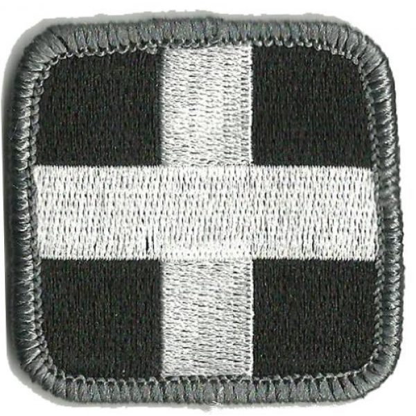 Gadsden and Culpeper Airsoft Morale Patch 1 Medic Cross Tactical Patch - Black & White