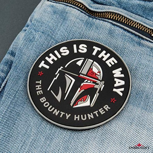 Embrosoft Airsoft Morale Patch 6 Bounty Hunter PVC Patch - This is The Way Mandalorian - Star Wars TV Series Morale Emblem - Hook/Loop Backing - Size: 3.5 x 3.5 inches