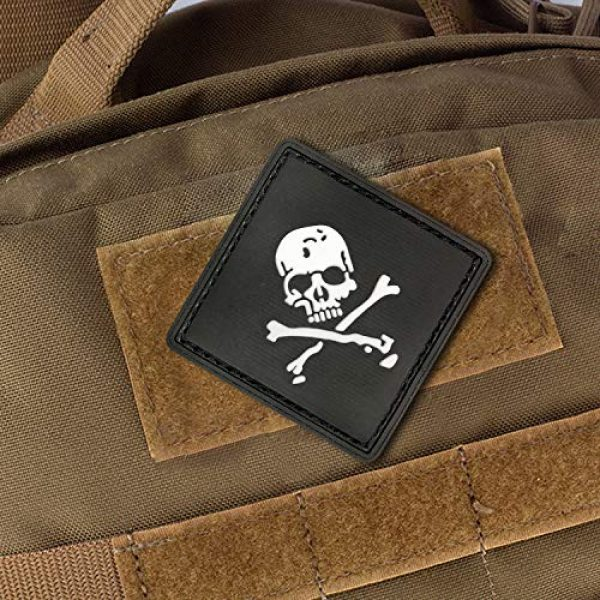Morton Home Airsoft Morale Patch 2 Morton Home Set I Airsoft Paintball Tactical Military Rubber Badges PVC Rubber 3D Morale Patch (Black Skull Cross)