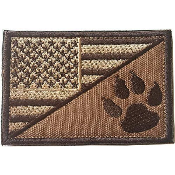 Xunqian Airsoft Morale Patch 2 USA American Flag w/Dog Tracker Paw Embroidered Applique Hook & Loop Patch (Browm)