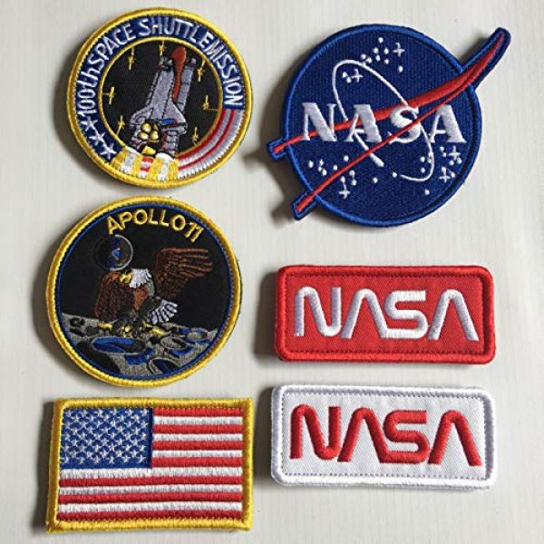 Xunqian Airsoft Morale Patch 3 Bundle 6 Pcs Tactical Flag Patch - Space Fans USA NASA Patch Embroidered Lot Military Embroidered Patches (A-Hook and Loop Fasteners Backing)