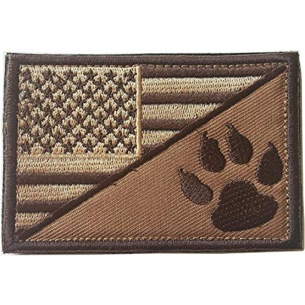 Xunqian Airsoft Morale Patch 1 USA American Flag w/Dog Tracker Paw Embroidered Applique Hook & Loop Patch (Browm)