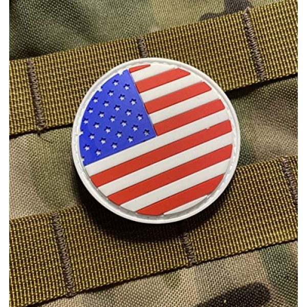 """Empire Tactical USA Airsoft Morale Patch 2 American Flag 2"""" Round PVC Patch (Hook/Loop) Back Morale Patch"""