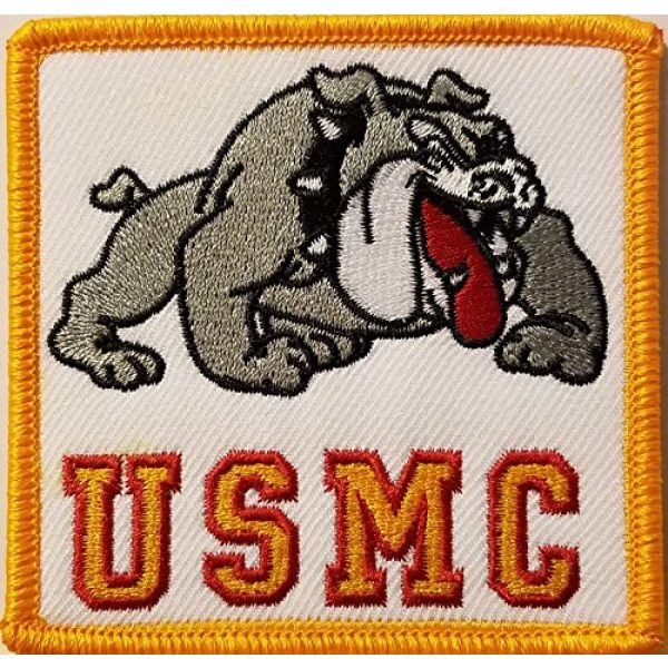 """Fast Service Designs Airsoft Morale Patch 1 (3 3/8 X 3 3/8"""" Inches) MARINES Symbol Embroidered Iron-On Patch DEVIL DOG Emblem Morale Patch #5"""