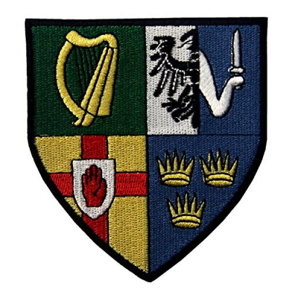 EmbTao Airsoft Morale Patch 1 Ireland Provinces Shield Emblem Irish Coat of Arms Flag Embroidered Iron On Sew On Patch