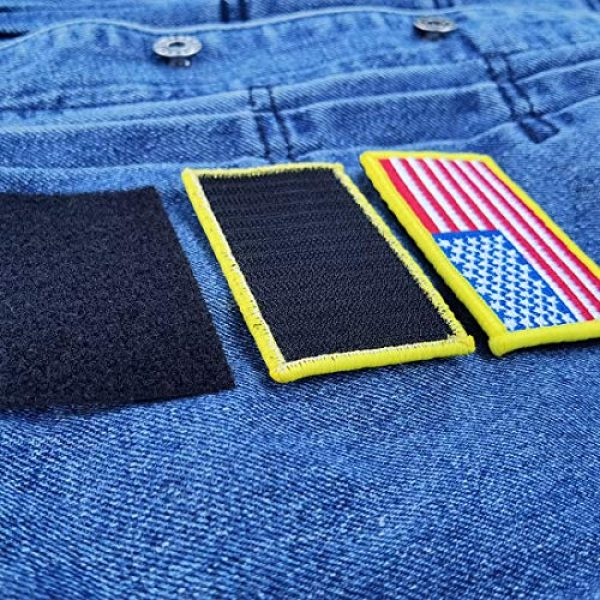 EtherealKiller Airsoft Morale Patch 4 American Flag Velcro Patches, 4pcs Gold Border US Flag Hook and Loop Emblems for Backpacks, Caps, Hats, Jackets, Pants