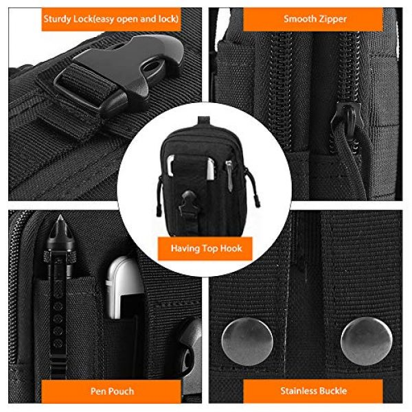 """AIRSSON Tactical Pouch 3 AIRSSON Universal Tactical Molle Pouch EDC/EMT Gear Tool Gadget Belt Outdoor Waist Bag Pocket Organizer with Cell Phone Holster for iPhone X Samsung S8 & Less Than 6.2"""" Smartphone+Carabiner (Black)"""