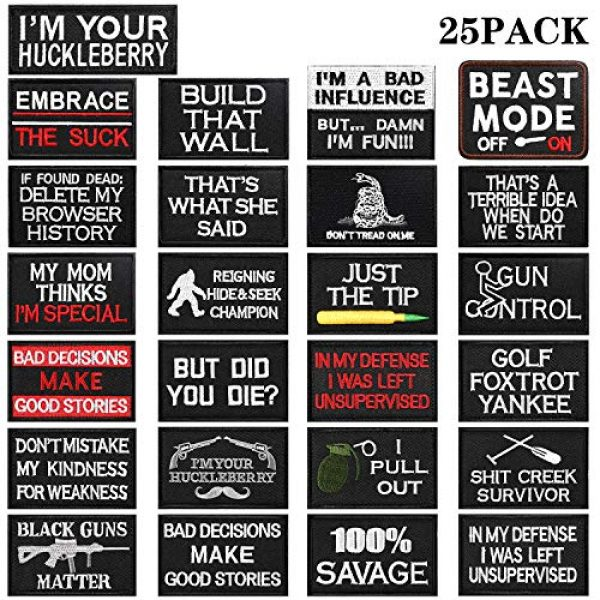 WILLBOND Airsoft Morale Patch 1 25 Pieces Tactical Embroidery Patch Tactical Appliques Military Embroidery Patches for Clothes Caps Hats Bags Backpack Military Cosplay DIY Crafts