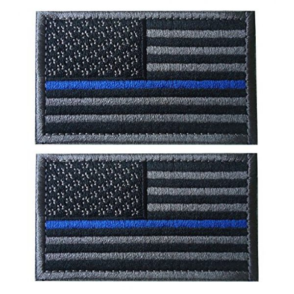 TACVASEN Airsoft Morale Patch 1 TACVASENBundle 2 Pieces-Tactical US Flag Thin Blue Line Embrodiered Patch