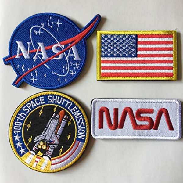 Xunqian Airsoft Morale Patch 4 Bundle 6 Pcs Tactical Flag Patch - Space Fans USA NASA Patch Embroidered Lot Military Embroidered Patches (A-Hook and Loop Fasteners Backing)