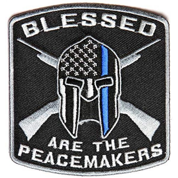TrendyLuz Airsoft Morale Patch 1 TrendyLuz Blessed are The Peacemakers Thin Blue Line Morale Tactical Embroidered Hook & Loop Patch Support Police Law Enforcement