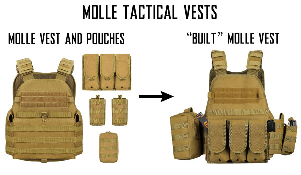 Example MOLLE Tactical Airsoft Vests with MOLLE Hook and Loop Pouches Setup