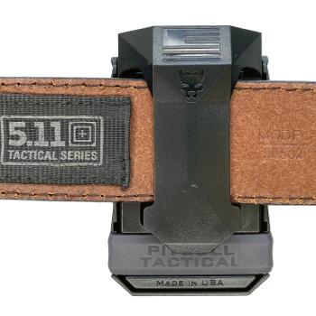 Universal CCW Magazine Carrier with Glock 17 Magazine on 5.11 Belt Back